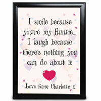 Personalised Gifts For Auntie Aunt Aunty Heart Birthday Christmas Gift for her