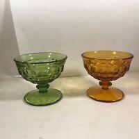 Pair of Glass Pedestal Cubist Sherbet Dessert Bowls Green Amber