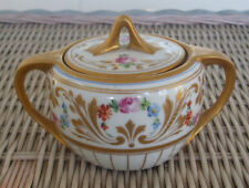 Pickard Hand Painted Sugar Bowl with Floral and Raised Gold Design