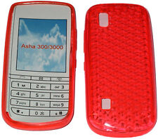 For Nokia Asha 300 / 3000 Pattern Gel Jelly Case Cover Protector Pouch Orange UK