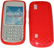 Para Nokia Asha 300 / 3000 patrón Gel Jelly Funda Protectora Protector Bolsa Naranja Reino Unido