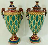 """Large Pair Antique/Vtg 18"""" SIGNED Chinese Fleur De Lis Porcelain Urn Vases"""