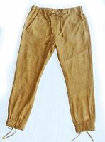 Pam&Gela Sz S Tan High Rise Lace- Up Suede Leather Jogger Pant Retail $825