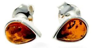 CERTIFIED BALTIC AMBER 925 STERLING SILVER Teardrop Stud Earrings M638