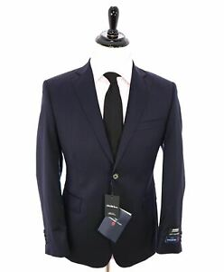 "$1,295 ERMENEGILDO ZEGNA -SAKS FIFTH AVENUE ""Classic"" SILK BLEND Navy Suit - 42S"