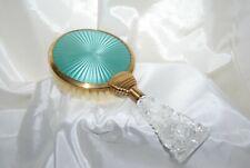 Vtg Aqua Green Guilloche Brush Art Deco Brass Plastic Handle Vanity