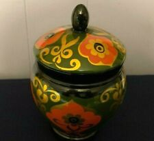 Wooden Black Floral Lacquer Box, Collectible Jar Hand painted