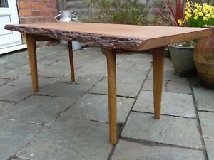 Beautiful Handmade Live Edge Coffee Table Rustic Natural Oak Solid Wood Chunky