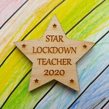 Wooden Teacher Gift Thank You School Nursery Handmade Keepsake Card Lockdown