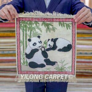 Yilong 1'x1' Panda Tapestry Handwoven Silk Area Rug Valuable Carpet 020H