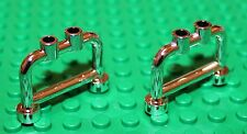 Lego 2x Silver Chrome Fence Bar 1x4x2 with Studs (4083) NEW!!!