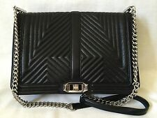 REBECCA MINKOFF *JUMBO LOVE GEO* QUILTED CROSSBODY BLACK /SILVER *EUC*