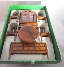 Vintage Dollhouse Miniature 1:12 Wood DINING ROOM Set in Original Box