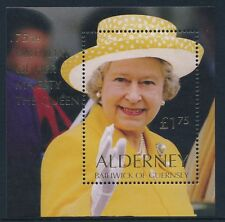 2001 ALDERNEY QUEEN ELIZABETH II 75th BIRTHDAY MINISHEET FINE MINT MNH/MUH