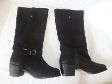 FAITH BLACK SUEDE/LEATHER KNEE HIGH LOW / MID HEEL BOOTS,SIZEUK 5/EU38,WORN ONCE