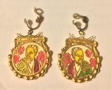 Vintage, Oriental Design, Gold, Clip-On Earrings