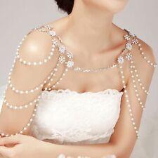 Crystal Wedding Jewelry Bridal Rhinestone Pearl Shoulder Body Chain Necklace Hot
