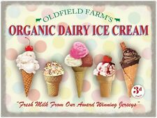Organic Dairy Ice Cream Cones, Cafe or Restaurant, Small Metal Tin Sign, Picture