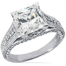 2.01 ct center Princess Cut  Diamond Engagement Ring 14k Gold H SI1 2.59 tcw