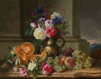Art Oil painting beautiful still life nice flowers and fruits in view canvas 36""