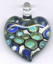 Lampwork Fused Dichroic 999 Silver Heart Pendant 45mm