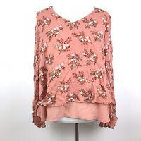 LC Lauren Conrad Womens Size Medium Floral Print Bell Sleeve Chiffon Hem Blouse