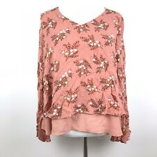 44bf5f781640de LC Lauren Conrad Womens Size M Floral Print Bell Sleeve Chiffon Hem Blouse  Top