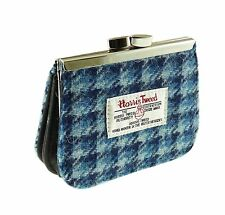 Ladies 100% Authentic Harris Tweed Coin Clasp Purse Blue Dogtooth Design New