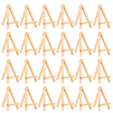 24 Pack Mini Table Top Natural Wood Tripod Display Easel Foldable 5 Inch