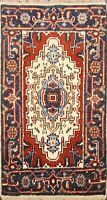Geometric Ivory Traditional Heriz Hand-knotted Oriental Area Rug Home Decor 2x3