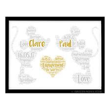 FP1152 Personalised Disney Engagement Wedding Gift Word Art Poster Print