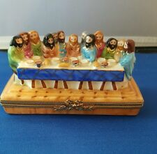 Limoges France trinket box Last Supper Limited edition religious signed & # RARE