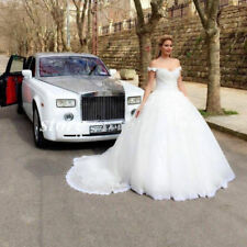 2019 White Ivory Lace Wedding Dress Bridal Ball Gown Custom size Off Shoulder