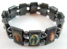 Jesus, Ann Rita, and Mary Men's / Women's Catholic Saint Icons Hematite Bracelet