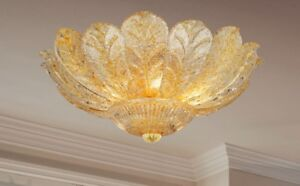 Ceiling From Ceiling Classic With Glass Of Murano Gold Amber