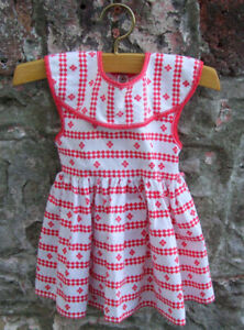 VINTAGE 1950's ORIGINAL TAGGED DRESS FOR PEDIGREE 21inch WALKER DOLL RED & WHITE