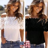 Fashion Summer Women Lace Vest Top Tank Casual Blouse Tops Off Shoulder T-Shirt