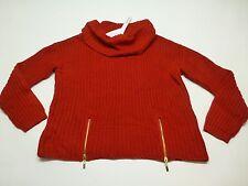 Modamix Womens 1X Scarlet Red Gold Zipper Bottom Turtleneck Neck Sweater New