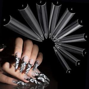 Stiletto Nail Tips Nail Art Manicure Salon Supplies 10 Sizes 3 Colours 50pcs UK