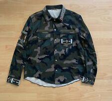 Valentino Jacket Camo Shirt with Beaded Trim, Green Size 56 $2890