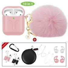 Case for Airpods 1 And 2 Fur Ball Keychain Soft Cover 10 Pack Accessories Pink