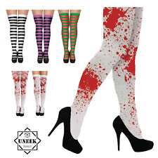 HALLOWEEN STOCKINGS TIGHTS HOLD UP White Blood Stained Zombie Stripey Bloody UK