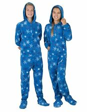 Footed Pajamas With Hood Kids Blue With Snowflakes Size Xs New With Tags