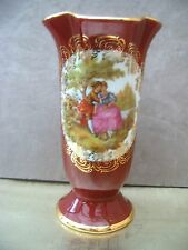 Red / Gilt Limoges La Reine Vase V 22  Fragonard scene. 14cms tall  FREE UK POST