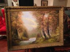 Original Mid Century Oil Painting River Trees Forest Signed H. Schonberg