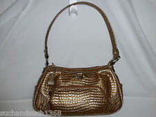 EUC Kathy Van Zeeland Handbag Bronze Gator Glam Shoulder Bag [Crocodile] CLEAN!!