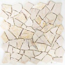 Mosaico pietra naturale marmo frammentario crema muro/suolo:44-30-2807b|1 foglio