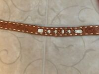 Vintage Name Renee Belt Western Tooled Leather Tan Cream Stitched 33""