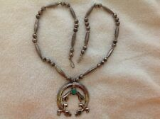 NATIVE AMERICAN STERLING SILVER TURQUOISE NAJA NECKLACE