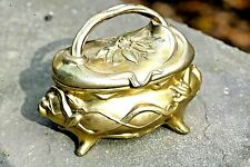 "Antique Gold Rogers Fuchsia Art Nouveau 4"" Victorian Jewelry Casket 1907-1908"